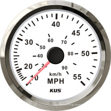 Speedometer Gauges 85mm Speedometer 0-55mph White Faceplate 316 Stainless Steel Bezel for The Boat Yacht Marine