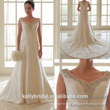 Бал 2017 новый изысканный кружева аппликация элегантный бисером невесты выращенных свадебное платье