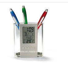 Transparent Plastic Pen Holder with Calendar