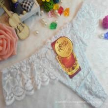 OEM atacado China venda quente sexy tanga confortável laço branco não-traço t-back elástica fantasia underwear 002