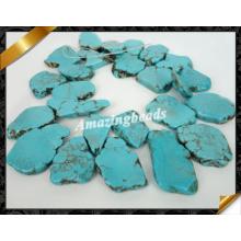 Bijoux en perles en pierre turquoise bleue, pierres précieuses en pierres de dentelle (GB0124)