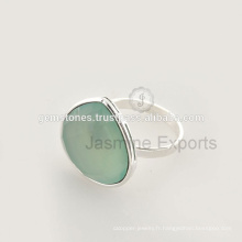 Beautiful Aqua Calcédoine Gemstone King And Queen Silver Engagement Jewelry For Wholesale