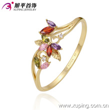 Fashion Jewelry 14k Gold-Plated Flower Colorful Cubic Zirconia Bangle