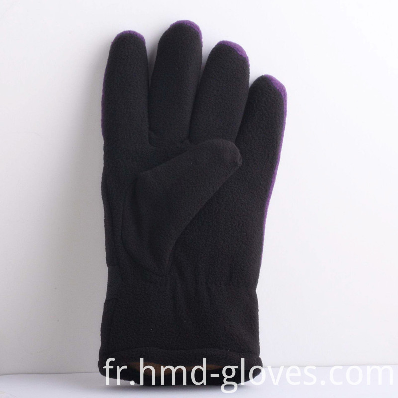Fleece Gloves Black Purple