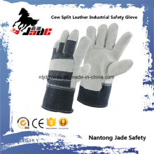 Grey Full Palm Cowhide Split Leather Industrial Safety Work Glove