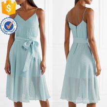 Correa de espagueti con cuello en V de algodón azul vestido midi de verano con la fabricación de arco ropa de mujer de moda al por mayor (TA0308D)