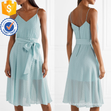 Spaghetti Strap V-Neck Blue Cotton Summer Midi Dress With Bow Manufacture Wholesale Fashion Women Apparel (TA0308D)