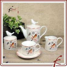 Juego de té de cerámica para diseño de pájaros