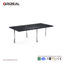 Orizeal Black Rectangle Long Chrome Coffee Table (OZ-OTB006)