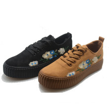 Hot Inwrought Flower Women School Vulcanization Elevator Shoes