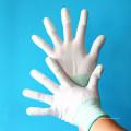 Inspección Trabajo de precisión Forro de fibra de carbono ESD Top Fit dedos PU Guantes seguros