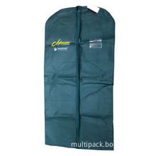 Garment Bag with 2 Small Pockets on Back Side for ID, with Nonwoven Piping and 1C Printing
