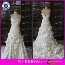 ED Elegant Real Sample Ruffle Pleating Taffeta Strapless Sleeveless Wedding Dresses