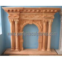 Cheminée en marbre pour maçonnerie en pierre (QY-LS274)