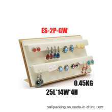 Engraved Golden White PU Earring Jewelry Display (ES-2P-GW)