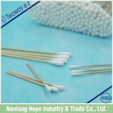 Cotonetes de cotonete de vara de madeira médicos descartáveis / cotonetes