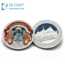 Manufacturer in China Custom Metal Die Struck Soft Enamel Silver Plating Funny Souvenir Animal Dragon Challenge Coins for Festival Events