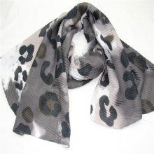 wide wrinkle leopard pattern print scarf super soft hand feeling with new materials recycled poly