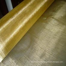 Maillage en laiton, tissu en laiton, filet en laiton (tissage plat, rouleaux)