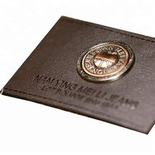 Custom private brand metal logo leather patch for apparel