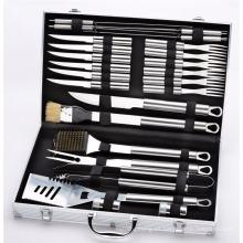 Juego de herramientas de accesorios de barbacoa de acero inoxidable de 24 piezas - Incluye caja de almacenamiento de aluminio para utensilios de barbacoa para parrillas