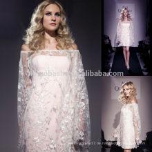 Hochzeitskleid Muster Free 2014 trägerlosen kurzen Hülle Brautkleid mit Off-Schulter lange Ärmel Spitze Jacke überlagert NB0760