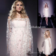 Wedding Dress Patterns Free 2014 Strapless Short Sheath Bridal Gown With Off-Shoulder Long Sleeve Lace Jacket Overlaid NB0760