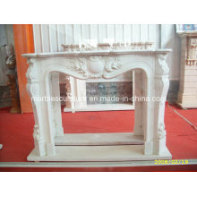 Natural Stone White Marble Fireplace with Low Price (SY-MF146)