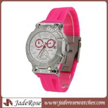 High End Pink Silicone Strap Quartz Ladies Sport Watch