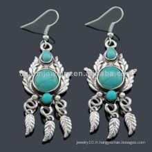 Boucles d'oreilles en argent antique faites à la main Boucles d'oreilles turquoises SE-013