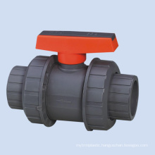 Double union plastic upvc lever handle ball valve