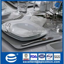 Feines Knochenporzellan-Geschirr, königliches luxuriöses keramisches Essgeschirr, großes quadratisches Essgeschirr, mit silbernen Liniendrucken