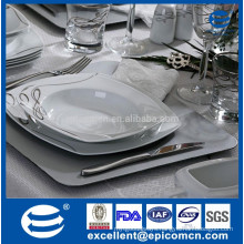 fine bone china dinnerware, royal luxury ceramic dinnerware, big square dinnerware, with silver lines printing