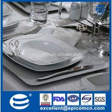 Dinnerware de porcelana fina de osso, dinnerware de cerâmica de luxo real, dinnerware quadrado grande, com impressão de linhas de prata