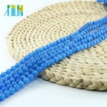 China Großhandelspreis X000709 Sapphire Ball Runde Cat Eye Perlen Glas Katzen Auge Edelstein Halskette