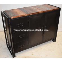 Aparador industrial de metal con aparador de madera reciclado