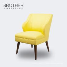 Chaises de loisirs en tissu jaune en bois de haute qualité pour le salon