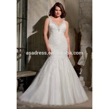 Brilliant Mermaid Lace Applique Beading V-neckline Wedding Dresses 2015 (YASA-902)