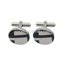Silver Stainless Steel Engraved Enamel Round Logo Cufflinks