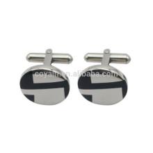 Prata Aço Inoxidável Gravado Esmalte Round Logo Cufflinks