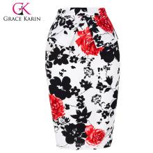 Grace Karin Occidente Mujeres Atractivas Cortas Vintage Retro Impreso Algodón Envoltura alrededor de la falda CL008928-7