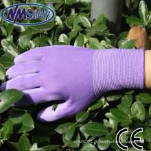 NMSAFETY impresso jardim luvas de nylon forro pu revestido luvas de jardim das mulheres