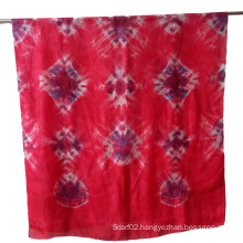 Silk Tie Dye Red Scarf Shawl Big Size Sex Girl for Women Sarong