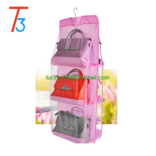 6 Pocket Handbag Anti-dust Cover Clear Hanging Closet Bags Organizer Purse Holder Collection Shoes Save Space