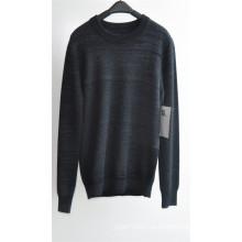 100% cashmere manga comprida em torno do pescoço tricô camisola para homens