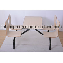 Modern Siamesed Design Canteen Table Set for Wholesale (FOH-NCP16)