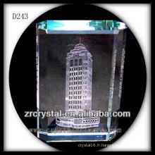 Modèle de bâtiment de laser 3D de K9 à l'intérieur du rectangle en cristal
