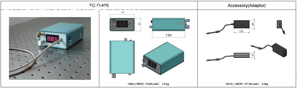 Dimensions of 405nm diode laser