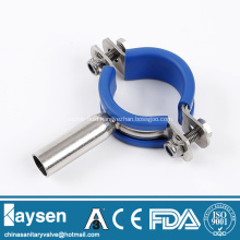 Sanitary round pipe hanger with blue rubber insert