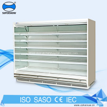 Vitrine refrigerada para exibição de vidro para laticínios